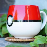 ball pottery - Hot Poke Ball Ceramic Coffee Mug Monster Pocket Ceramic Tea Cups Coffee Cups Cartoon Poke Milk Mug Water Cup PPA138
