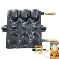 Wholesale 3pcs Deep Open Mouth Japanese Fish Cake Waffle Ice Cream Taiyaki Mold Plate Pan Iron