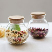 Wholesale New Arrival Clear Glass Round Bottle Canister For Storing Tea and Flower With Wooden Cork