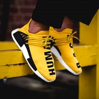 Wholesale NMD Runner Yellow Running Shoes NMD Human Race High Quality Running Sneakers Breathable NMD Sneaker Women Men with Box size
