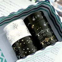 Wholesale 16 Brand New Black Moon Stars Washi Paper Masking Tape DIY Scrapbooking Stickers Gift Wrapping Sticker FG17467