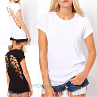 angels top cap - Casual Womens Punk Laser Backless Hollow Angel Wings Cut Out Tops T shirt XE1426 S10