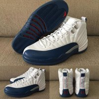 animations french - With shoes Box New Retro XII White Blue French Blue Hot Sale Men Boots Shoes