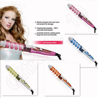 Wholesale 100PCS EU US plug Colorful automatic Spiral Hair Rollers Curling Iron Electric Ceramic Magic Hair Curler Hair Styling Tools JJA27