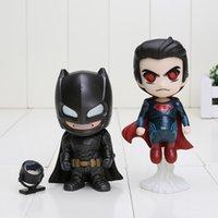 avengers collection set - 2pcs set batman vs superman Q version batman and superman figure boxed pvc action figure good collection model cm