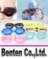 Wholesale 5colors Cheap Resin Goggles Adult Women Men Antifog UVstop Swimming Suit Goggles And Ear Plugs And Nose Clips LLFA88