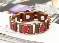 Wholesale bracelets for men anchor bracelet Cowhide link bracelet The first layer cowhide ornament Tides male female leather bracelet leather flower