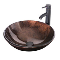 Wholesale Round Artistic Bathroom Vessel Sink Above the Counter Modern Tempered Glass Sink with Oil Rubbed Bronze Faucet and Pop up Drain A01