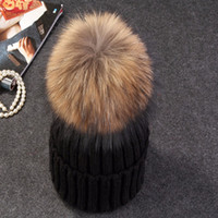 beret party hats - Mink and fox fur ball cap pom poms winter hat for women girl s wool hat knitted cotton beanies cap brand new thick female cap