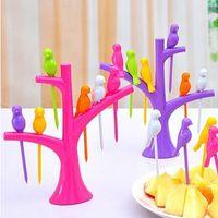 Wholesale Tableware Dinnerware Sets Creative Tree Birds Design Plastic Fruit Forks base Forks Hot Sale Vegetable Fork