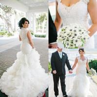 Wholesale Gorgeous Vintage Mermaid Lace Wedding Dresses Cap Sleeves Plus Size Bridal Gowns Organza Ruffles Vestidos de novia