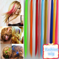 Wholesale 2016 Colorful Popular Colored Hair Products Clip Hot Sales New Fashion Popular Colored Synthetic Clip On In Hair Extensions