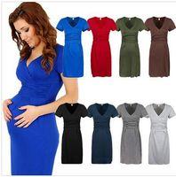 Wholesale Maternity Women Dress Tunic Short Sleeve V Neck Stretchy Bodycon Pregnant Dresses Vestidos Pregnant women clothing Mummy dress DDA3348 pc