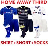 Wholesale 2016 Chelsea Soccer Sets Suit Uniform Home Away Third HAZARD OSCAR DIEGO COSTA Willian Kante Blues Soccer Jersey With Short Socks