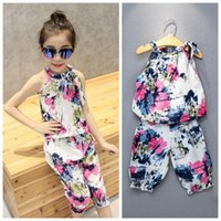 baby ink - 2016 summer new children s clothing girls fashion ink printing sleeveless vest piece fitted jacket pant set baby girl clothes suit