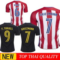 Wholesale 2016 Atletico Madrid Home Away GRIEZMANN Jerseys GODIN KOKE F TORRES SAUL best quality shirt jerseys
