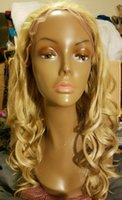 Wholesale Charming Long Wavy Blonde Lace Front Wig Swiss Synthetic