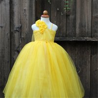 beast hunter - Yellow Party Flower Girl Dress Tulle Tutu Dress Belle Princess Costume Halloween Beauty And Beast Cosplay Dress For Kids Pageant