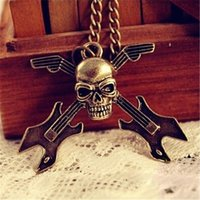 animal guitar - 2016 Hot Europe And America Retro Skull Guitar Instrument Long Necklace Sweater Chain Factory Direct X091
