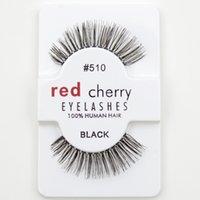 adhesive strips - 2Pcs pair Fashion False Eyelashes Pro soft False Fake Human Hair Eyelashes Adhesives Glamour Eye lashes Red_Cherry Makeup Beauty