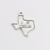 antique texas - 20pcs Antique Silver Plated I Love Texas Charms Pendants for Necklace Jewelry Making DIY Handmade Craft x20mm