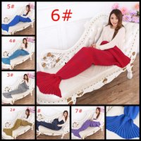 Wholesale crocheted Mermaid Tail Blanket Super Soft Hand kniiting cartoon Sofa Blanket air condition blanket siesta blanket winter sofa laying warm