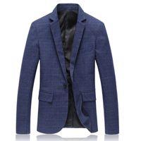 Wholesale Suit Jackets XL M Plus Size Quality Spring Fashion Plaid Men Casual Jacket Hot Sale Slim Fit Brand Clothing Navy Blue