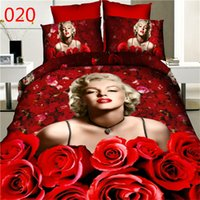 bedsheet wholesales - 2016 D oil painting bedding set rose flower cotton reactive printing queen size duvet cover bedsheet pillowcase hoem textiles