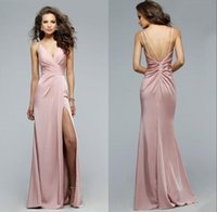 art charms - 100 real picture Simple Dusty Pink Side Split Evening Dresses Faviana Spaghetti Straps Sexy Backless Mermaid Charming Prom Party Gown