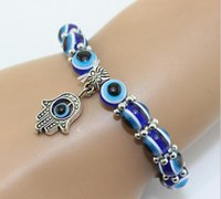 beaded allure - Hot sell Hamsa Fatima Hand Evil charm magic captivate allure Eyes Bracelet Handmade Beads Bracelet HJIA825