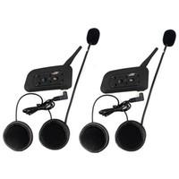 Wholesale 2x Bluetooth Interphone Motorcycle Helmet BT Intercom Stereo Headset Riders m V6 F4450A