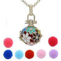 ball chain link necklace - Gold Daisy Flower Crystal Hollow Box Locket Essential Oil Aromatherapy Diffuser Pendant Necklace Cotton Release Balls Charms Jewelry