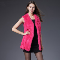 Wholesale Winter Autumn Rabbit Fur Vest Fashion Real Fur Coats For Women Brand Sale Female Natural Fur Vest Out Wear High Quality