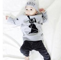 sport clothing wholesale - autumn baby boy girl clothes Long sleeve Top pants sport suit baby clothing set newborn infant clothing bebe hight quality fr