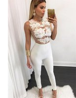Wholesale RA80235 Brand new female flower bodysuit high quality solid color sleeveless rompers womens jumpsuit long pants jumpsuit