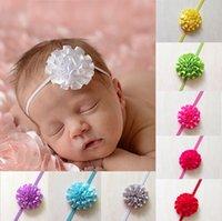 Wholesale Chiffon Carnation Flowers - Retail 1pcs Hair accessory Newborn Baby Girls Mini Chiffon Satin Flowers Carnation Flower Kids headbands hair band W030