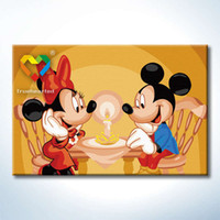 baby toy bar - Mickey Mouse DIY Painting Baby Toys x30cm Coloring Canvas Oil Painting Kids Drawing Toys Set for Bar Decoration with Wooden Frame