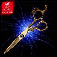 beauty swords - Professional inch JP440c stainless steel sword type blade golden dragon carved half handle hair cutting scissors beauty salon tools