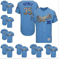 Wholesale Mens Flexbase Eric Hosmer Kendrys Morales Alex Gordon Color Light Blue Gold Jerseys