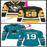 achat en gros de maillot authentique 58-Pingouins pittsburgh femme # 58 kris letang noir 2016 Ice Winter Jersey Maillots de hockey bon marché Authentic Stitched Taille d'expédition gratuite 48-56