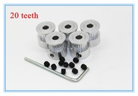 Wholesale GT2 mm Timing Pulley teeth Alumium Bore mm with Screw with Wrench for GT2 belt Width mm teeth