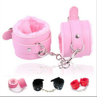 adult soft play - BDSM soft pair PU Leather Handcuffs Sex set Restraints Costume Bondage Play Sex Toy for couples fetish PlayChain SM Adult Game