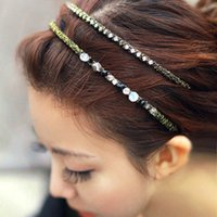 Wholesale 2016 youth lively fashion lovely party daily Europe girls Gold lace wrapped small diamond crystal hair hoop hairpin hair jewelry