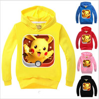 Wholesale Kids Poke Go Coat Pikachu Hoodies Pocket Jacket Monster Outwear Poke Ball Jumper Fashion Sweater Cartoon Pullover Poke Sweatshirts
