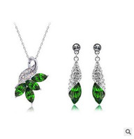 Wholesale Austrian Crystal Diamond Necklaces and Earrings Set High Quality Silver Plated Necklace and Earrings Woman Crystal Jewelry