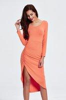 asymetric dress - Orange Autumn New Arrival Spandex Casual Women Dresses Asymetric Tea Length Long Sleeves Sexy Sheath Cheap Lady Dresses For Women FS0344