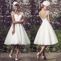 Wholesale Vintage Tea Length Wedding Dresses Country Style Ivory Lace Appliqued Sheer Capped Sleeves Illusion Button Back A line Bridal Gowns