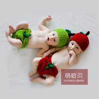 baby apple costume - Newborn baby cartoon costume props baby needle hook knitting wool suit small apple cartoon photography clothing