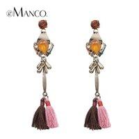Wholesale Tassels long dangle earrings for women new winter gold plated crystal alloy long drop earring pendientes largos eManco