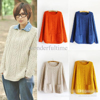 Wholesale New Fashion Women Lady Girls Vintage Cable Knitted Sweater Pullover Jumper Outwear Cardigan Pocket